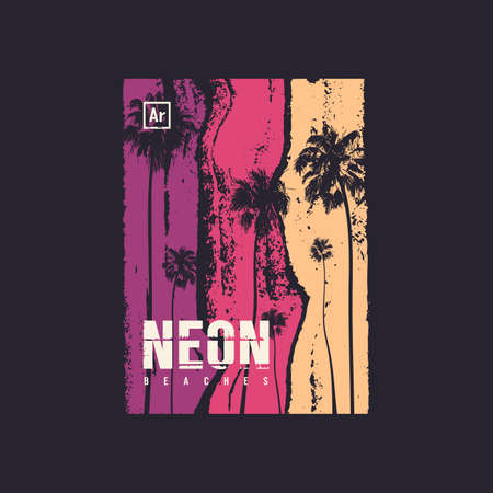 Neon beaches t-shirt vector design, poster, print, template