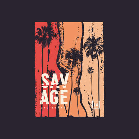 Savage California t-shirt vector design, poster, print, template