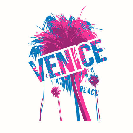 Venice beach colorful vector graphic t-shirt design, poster, print Illusztráció
