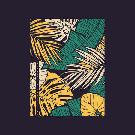 Vector hand drawn tropical illustration. T-shirt print, poster, cover design