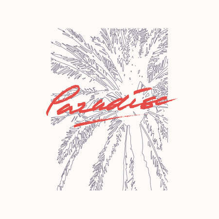 Paradise vector graphic t-shirt design, poster, print