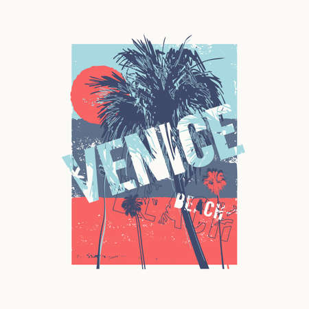Venice beach colorful vector graphic t-shirt design, poster, print.
