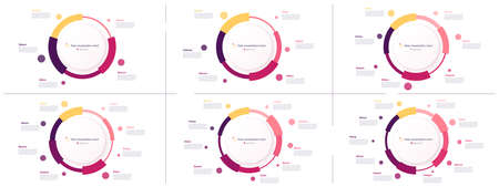Vector circle chart designs, modern templates for creating infographics, presentations, reports, visualizations. Illusztráció