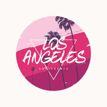 Los Angeles graphic colorful t-shirt design, poster, print