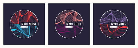 Set of nyc t shirt vector abstract designs