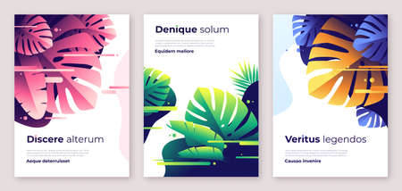 Colorful tropical vector backgrounds, covers