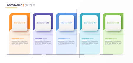 Vector infographic design template. Five option