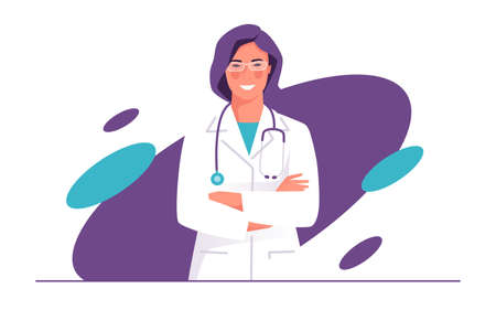 Vector illustration of a physician, doctor, therapist with stethoscope