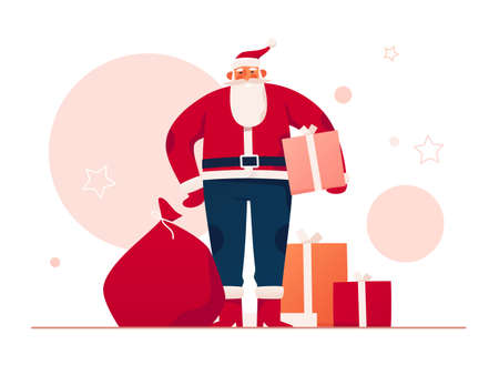 Vector illustration of a good-natured Santa Claus surrounded by gifts and presents. Merry Christmas and Happy New Year poster, card, background Vektoros illusztráció