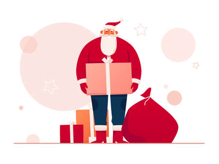 Vector illustration of a good-natured Santa Claus surrounded by gifts and presents. Merry Christmas and Happy New Year poster, card, background