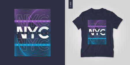 New York City. T-shirt geometric vector design, poster, print, template