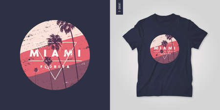 Miami Florida. T-shirt vector design, poster, print, template Иллюстрация