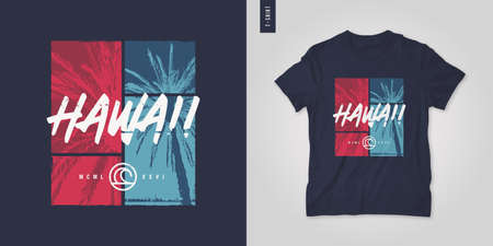 Hawaii. T-shirt vector design, poster, print, template