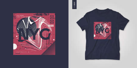 New York City. T-shirt abstract geometric vector design, poster, print, template