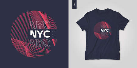 New York City graphic t-shirt abstract design, geometric poster, vector illustration