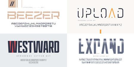 Collection of vector sans serif fonts, uppercase letter sets, alphabets 矢量图像
