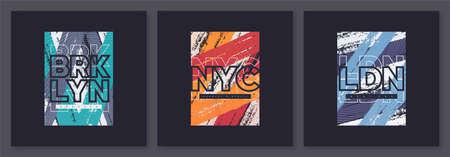 Set of abstract geometric t-shirt vector designs, graphic prints. Brooklyn, New York City, London