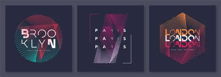 Set of abstract geometric t-shirt vector designs, graphic prints. Brooklyn, Paris, London