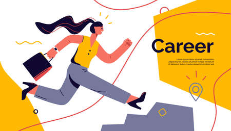 Vector illustration on the theme of career, achievement, success depicting a running woman