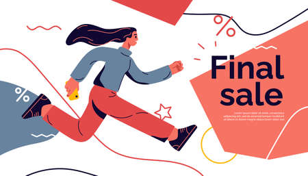 Vector illustration on the theme of season sales, discounts, promotions depicting a running young girl 矢量图像
