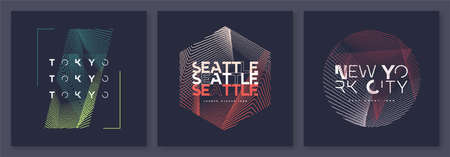 Set of abstract geometric t-shirt vector designs, graphic prints. Tokyo, Seattle, New York.