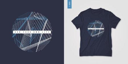 Geometric mens t-shirt design, graphic print, vector illustration