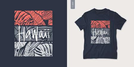 Hawaii summer graphic t-shirt design, tropical print, vector illustration 矢量图像