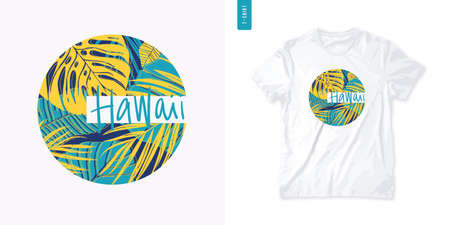 Letter Hawaii colorful summer graphic t-shirt design, tropical print, vector illustration
