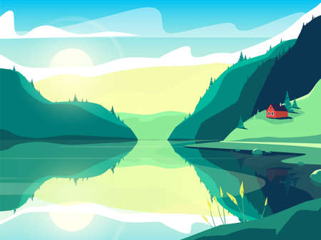 Colorful vector illustration of a scandinavian fjord at sunrise