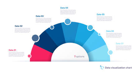 Vector pie chart infographic template in the form of semicircle divided by seven parts