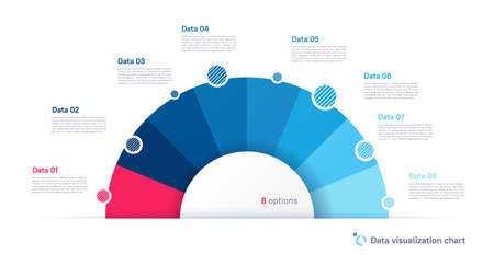 Vector pie chart infographic template in the form of semicircle divided by eight parts 矢量图像
