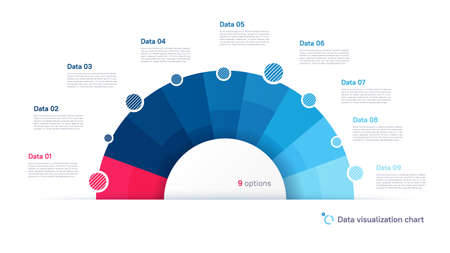 Vector pie chart infographic template in the form of semicircle divided by nine parts 矢量图像