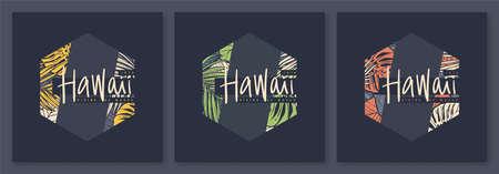 Set of Hawaii tropical vector t-shirt designs, posters, prints, labels