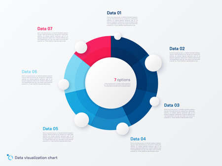Vector round circle infographic chart template divided by seven parts