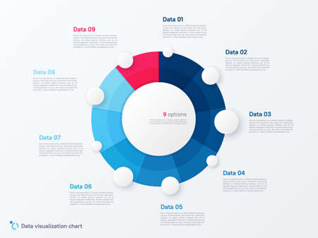 Vector round circle infographic chart template divided by nine parts