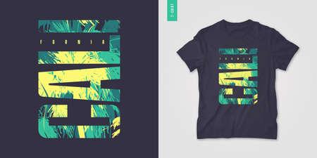 California graphic tee design, typography print, vector illustration 矢量图像