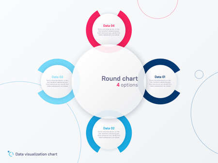 Vector round circle infographic chart template divided by four parts