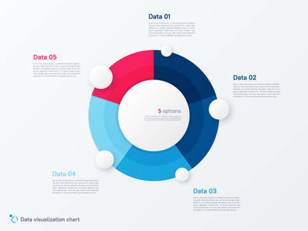 Vector round circle infographic chart template divided by five parts