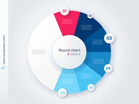 Vector round circle infographic chart template divided by six parts 矢量图像