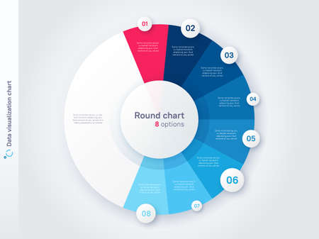 Vector round circle infographic chart template divided by eight parts