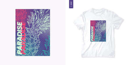 Vivid graphic tee design with pineapple, stylish print, vector illustration 矢量图像
