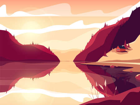 Colorful vector illustration of a scandinavian fjord at sunset