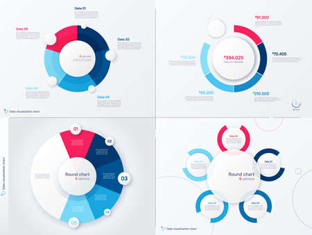 Vector infographic round chart templates. Five options, steps, parts 矢量图像