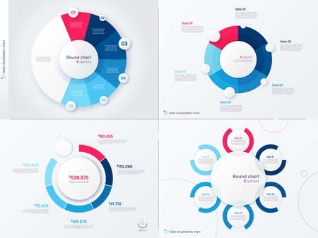 Vector infographic round chart templates. Six options, steps, parts