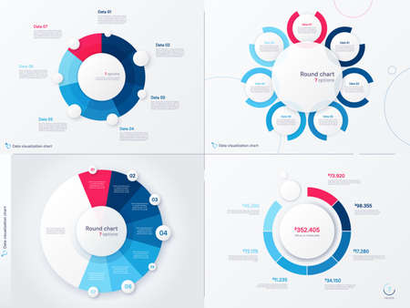 Vector infographic round chart templates. Seven options, steps, parts