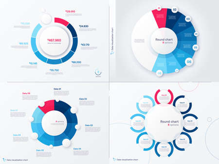 Vector infographic round chart templates. Eight options, steps, parts