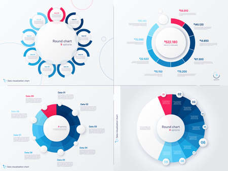 Vector infographic round chart templates. Nine options, steps, parts 矢量图像