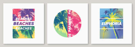 Summer graphic tee designs with palm trees, stylish prints, colorful vector illustrations