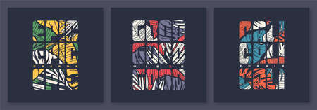 Set of colorful tropical vector t-shirt designs, posters, prints, labels