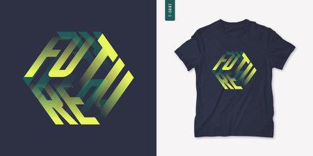 Future. Graphic mens three dimensional t-shirt design, poster, typography. Vector illustration 矢量图像